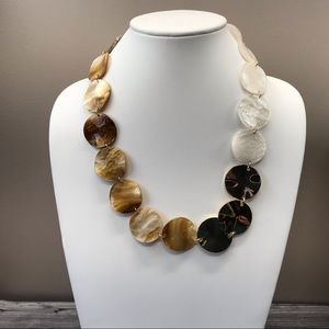 Jewelry - Chunky mother of pearl and gold disk necklace